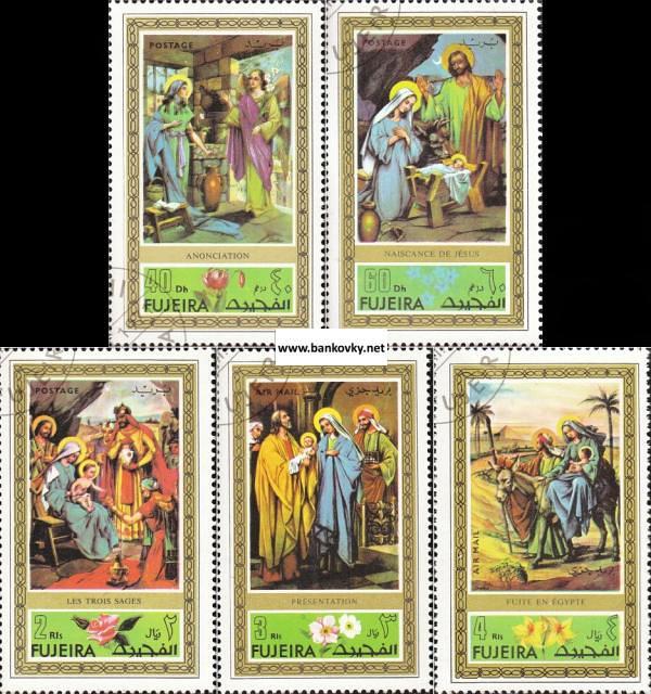 Známky Fujeira 1971 Vianoce - maľby, razítkovaná séria