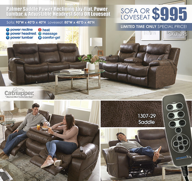 Palmer Saddle Power Reclining Sofa OR Loveseat Catnapper_Newest