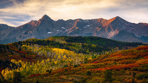 colorado fall colorful aspens ridgeway dallasdivide mountain mountains rock rockformations trees tree yellow sunrise jmkphotography nikon nikonz7 fallcolor aspentrees autumn sanjuanmountains fallcolors landscape unitedstates us beautiful alpenglow