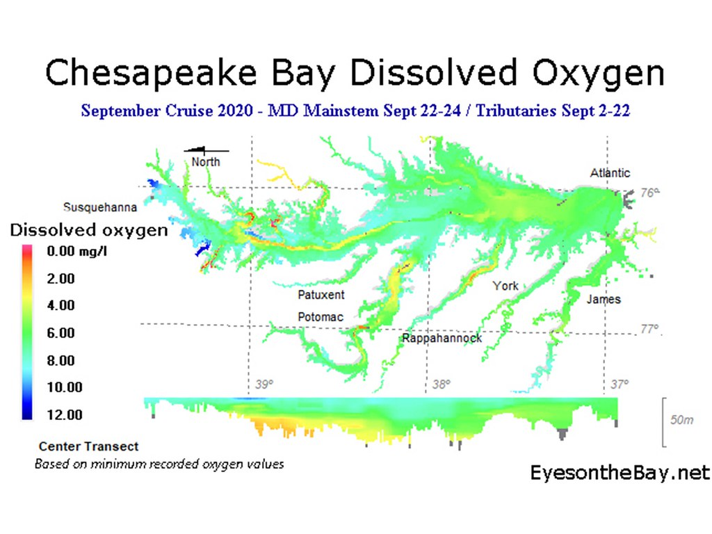 Map of hypoxic water volume in Chesapeake Bay
