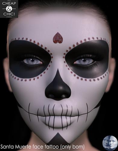 Santa Muerte face tattoo [Genus]