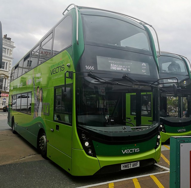 Southern Vectis 1666 is at Ryde Bus Station before leaving on route 9 to Newport via Wootton and Medina. - HW67 AKF - 4th June 2020