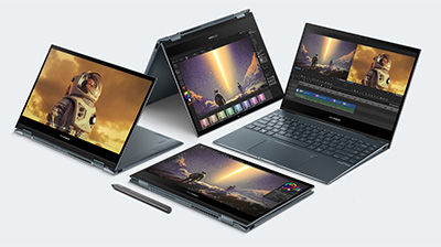 The new Asus ZenBook Flip 13 in various deployment configurations.