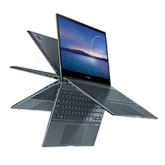 The 360° ErgoLift hinge on the ZenBook Flip 13 (UX363) has a precision-engineered metal multi-gear mechanism that is designed to lift and tilt the new edge-to-edge keyboard into a comfortable typing position while improving cooling airflow when the NanoEdge display is opened beyond 135°. The extra space underneath ZenBook created by the ErgoLift hinge allows the powerful speakers to deliver clearer sound with improved bass response.