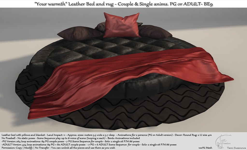 ".:Tm:.Creation ""Your warmth"" Leather Bed and rug with anims. BE9"