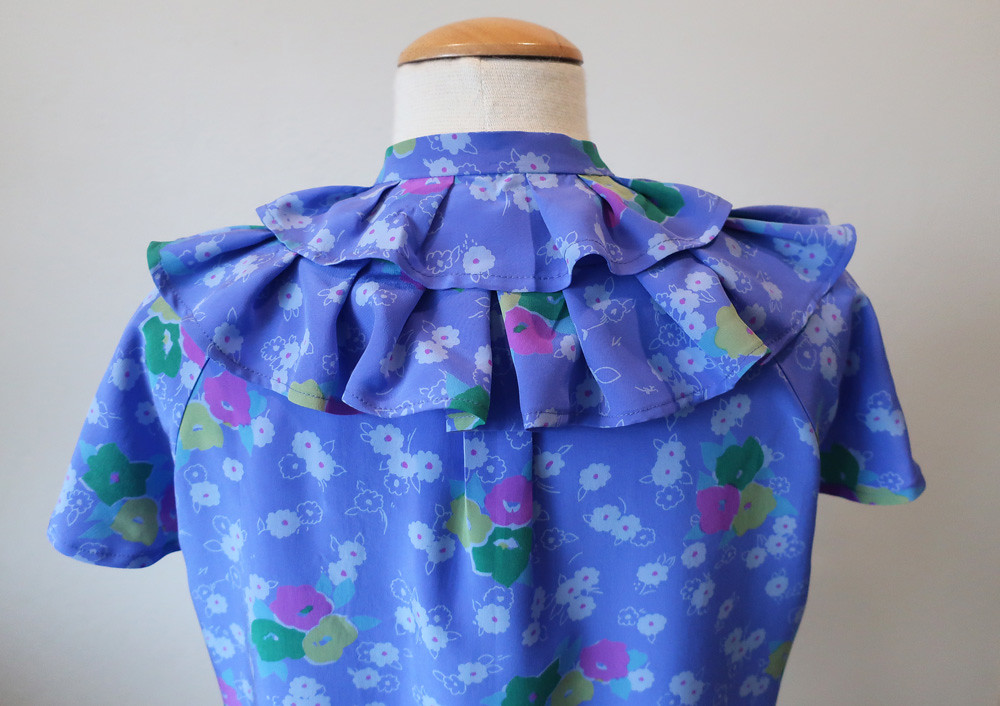 purple print top back ruffle