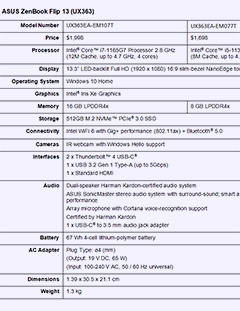 Specifications for the ASUS ZenBook Flip 13. Click to enlarge.