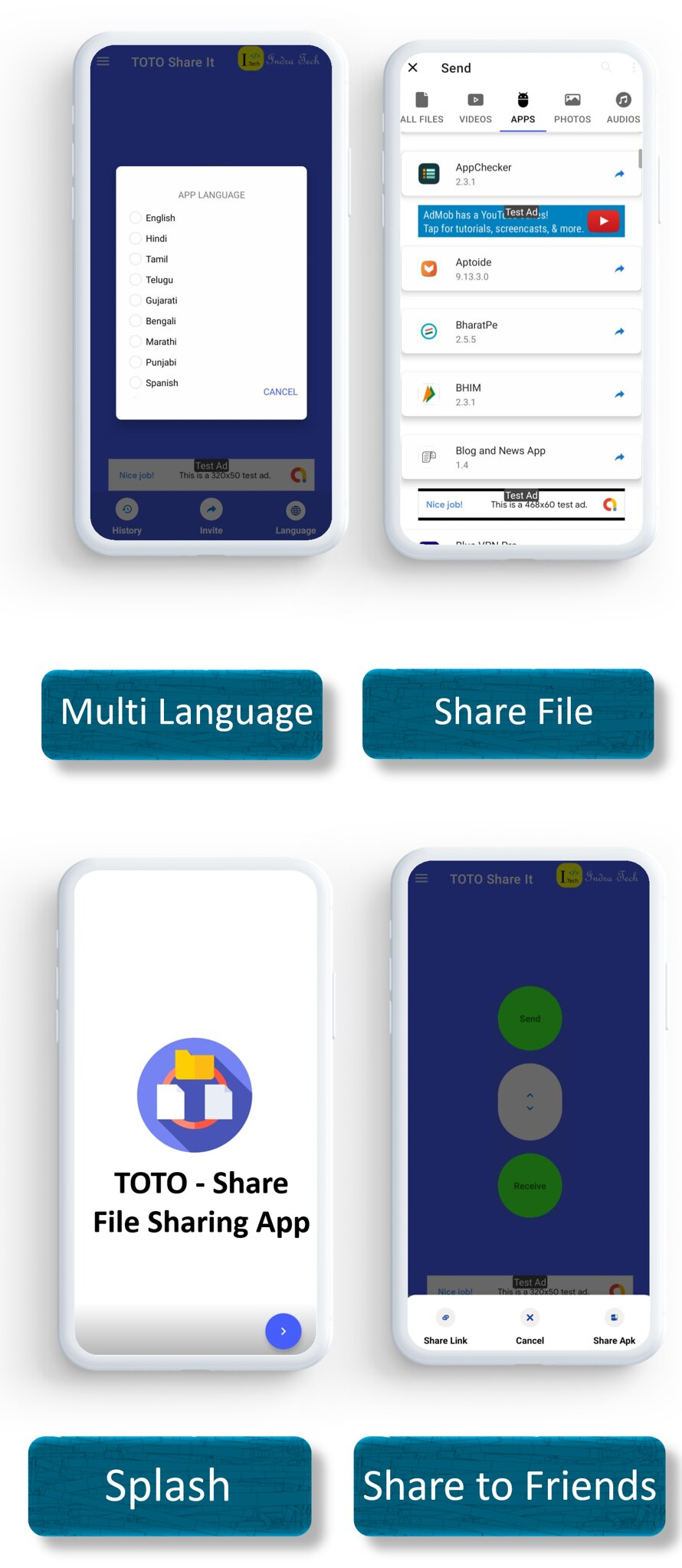 TOTO - Share App | Share Files | Admob Ads | Sharing App | Onesignal Notification - 5