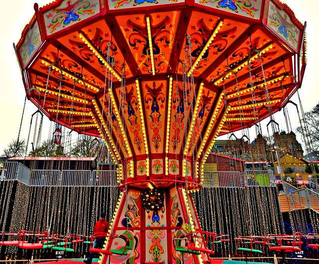Colourful kids funfair ride in Edinburgh
