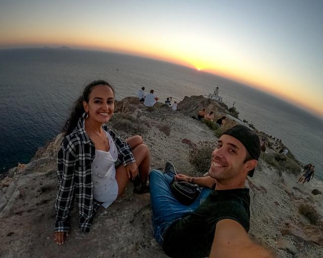 Atardecer en Akrotiri en la isla de Santorini, uno de los atardeceres más bonitos que ver en Grecia
