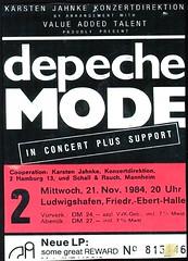 0 - Depeche Mode - Concert Ticket - L'hafen 21 Nov 1984