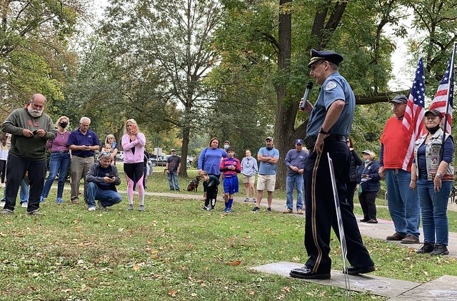 Springfield Township Police Chief Mike Pitkow addresses Back the Blue rally