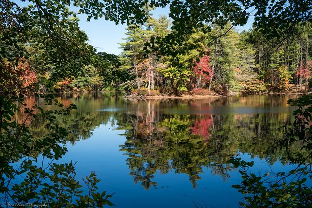 Peak fall foliage and a sublime reflection