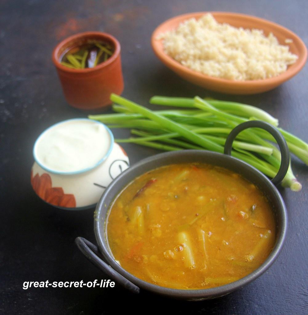 Spring onion sambar  recipe - Vengayathal sambar recipe - Sambar recipes