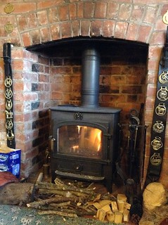 Beer, crisps and a log fire | by Mary Loosemore