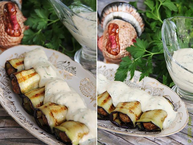 Баклажаны с кебабами под тахинным соусом
