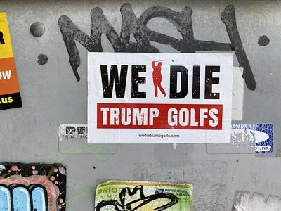 We die, Trump golfs