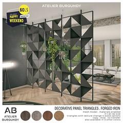 Atelier Burgundy . Decorative Panel Forged Iron