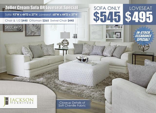 Zeller Cream Sofa OR Loveseat_4470