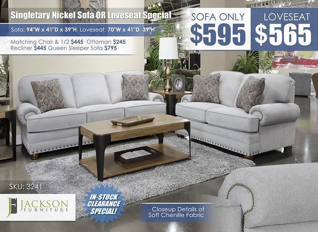 Singletary Nickel Sofa OR Loveseat_3241