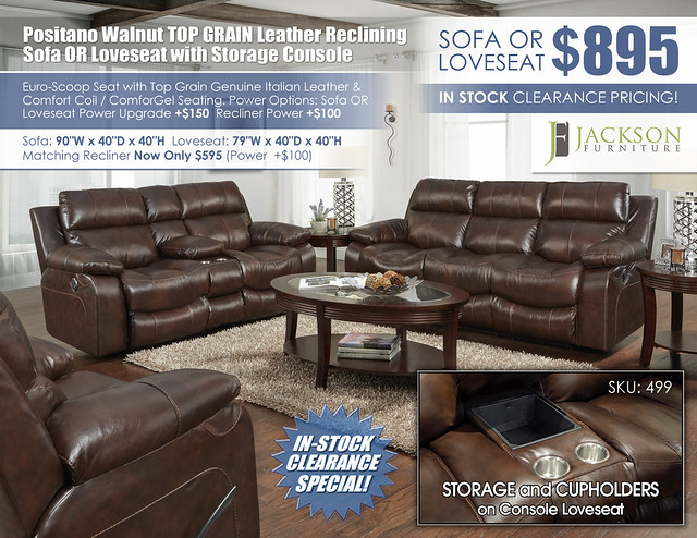 Positano Walnut Cocoa Reclining Sofa OR Loveseat_499