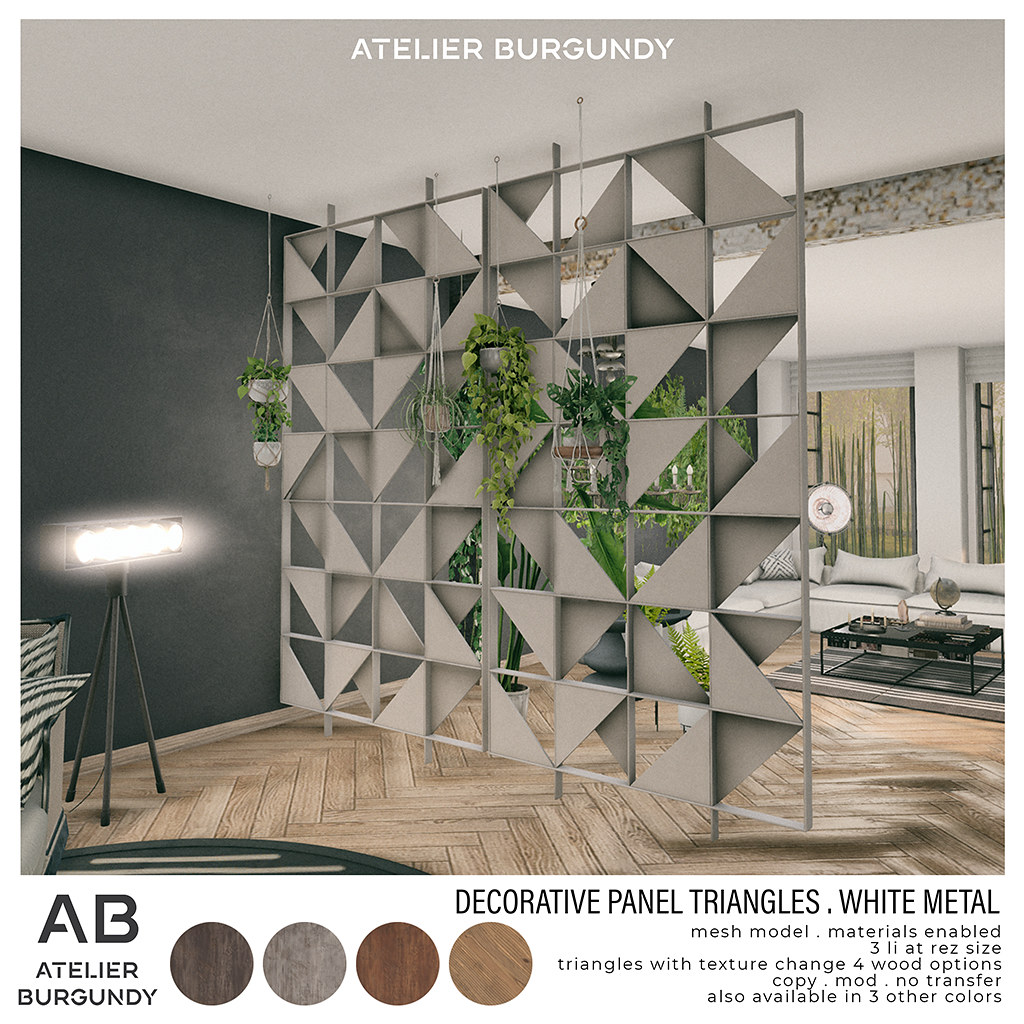 Atelier Burgundy . Decorative Panel White Metal