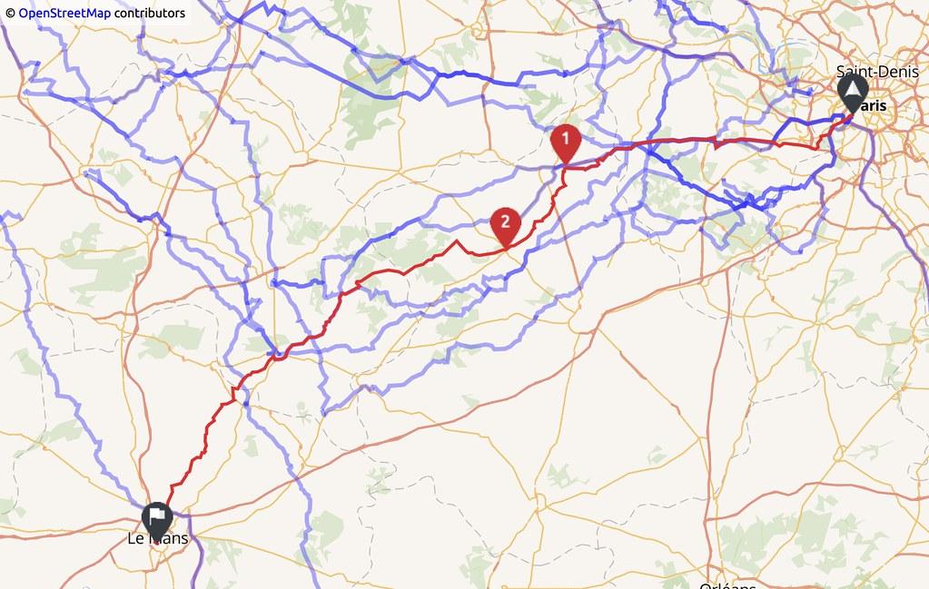 carte indiquant un trajet Paris - Le Mans