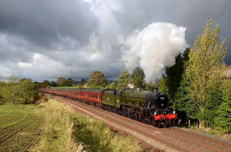 Galatea,running as 45562 Alberta leaving Appleby with the CME on 10/10/2020.The sun came out seconds before the train and disappeared seconds after it ! Copyright David Price No unauthorised use