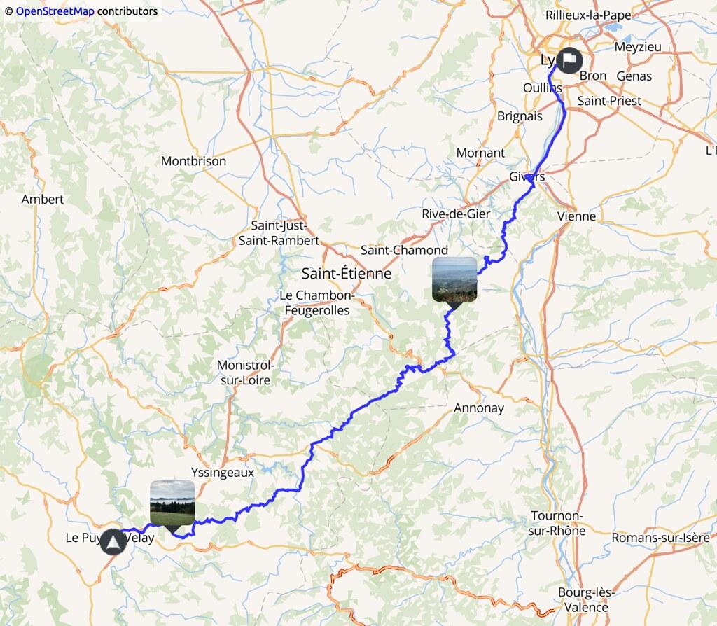 carte indiquant un trajet Le Puy en Velay - Lyon