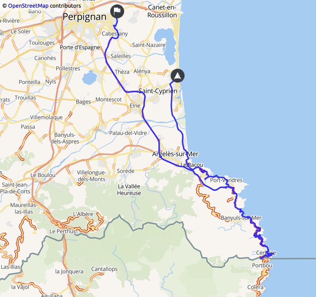 carte indiquant un trajet Perpignan - Cerbère et retour