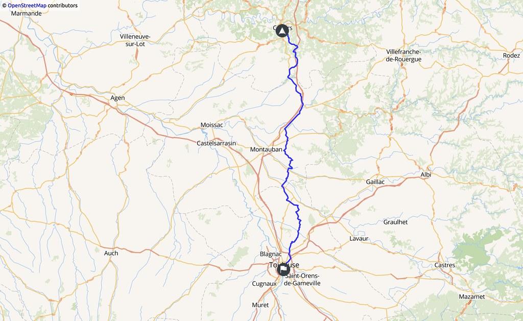 carte indiquant un trajet Cahors - Toulouse