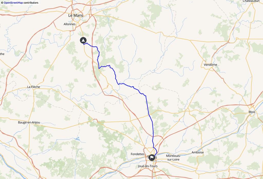 Carte indiquant un trajet Le Mans - Tours