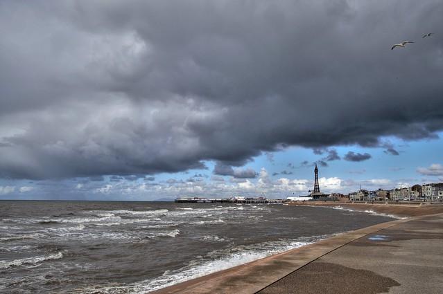 Gloomy weather at Blackpool