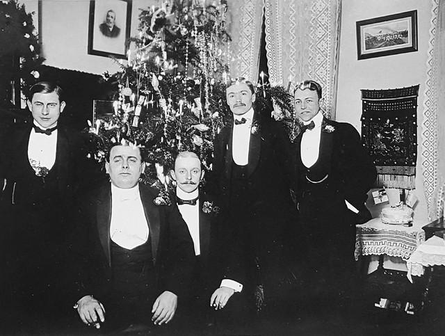 Paul Harding Klimanek with bachelor friends celebrating Christmas, Qingdao, ca. 1910