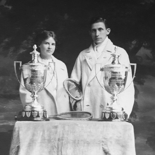 Philip Harding Klimanek and his mixed double tennis partner, Shanghai, ca. 1913
