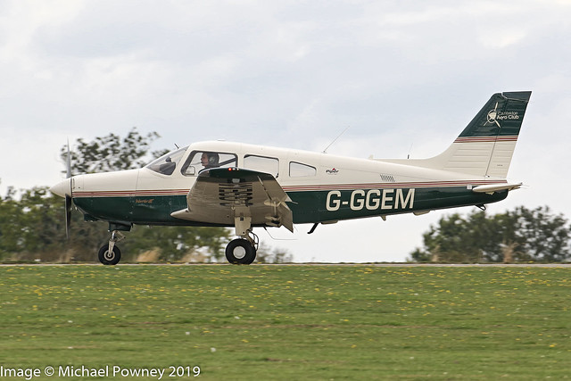 G-GGEM - 2003 build Piper PA-28-161 Cherokee Warrior III, arriving on Runway 21R at Sywell during the 2019 LAA Rally