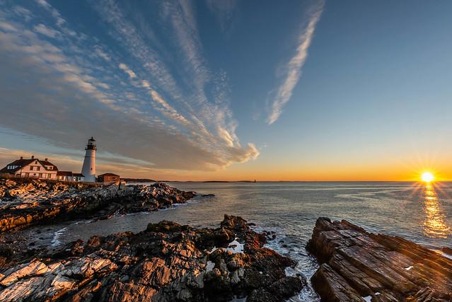 Portland Head Lighthouse at sunrise