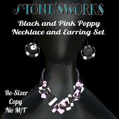 Black and Pink Poppy Necklace Earring Set Stone's Works