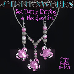 Sea Turtle Earring Necklace PinkTopa Set Stone's Works