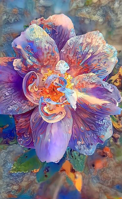 Wild rose - Deep Dream Generated style