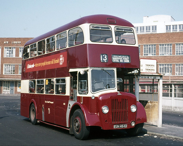 Cardiff Transport  . 464 EUH464D . Cardiff Bus Station , South Wales . Sunday 05th-September-1971 .