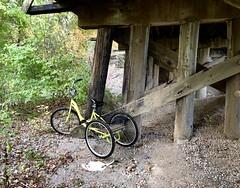 Bicycle hidden under the Caney Railroad Bridge