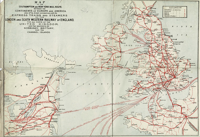 Map of the Southampton and New York Mail Route from the London & South Western Railway timetable, c1910
