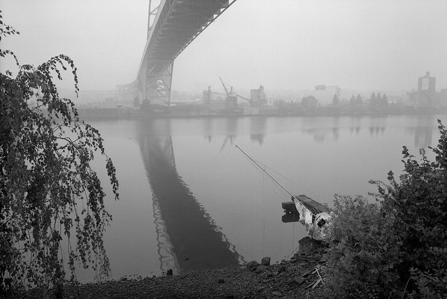 Under the Fremont Bridge in Wildfire Smoke, Portland