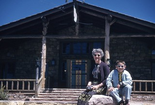Older lady and young boy in sunglasses