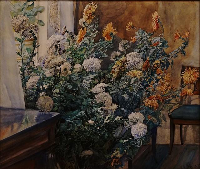 Anna Syberg (1870-1914) - Interior with Chrysanthemum - 1905 - Watercolour - Faaborg Museum - Funen - Denmark