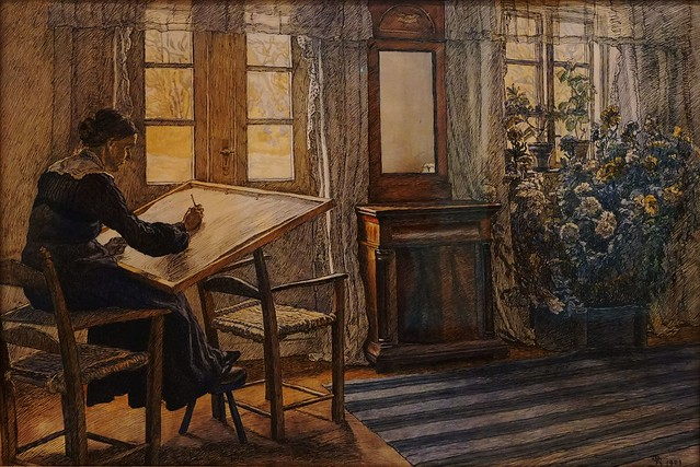 Fritz Syberg (1862-1939) - Interior with the Artist's Wife at Drawing Board - 1904 - Watercolour - Faaborg Museum - Funen - Denmark