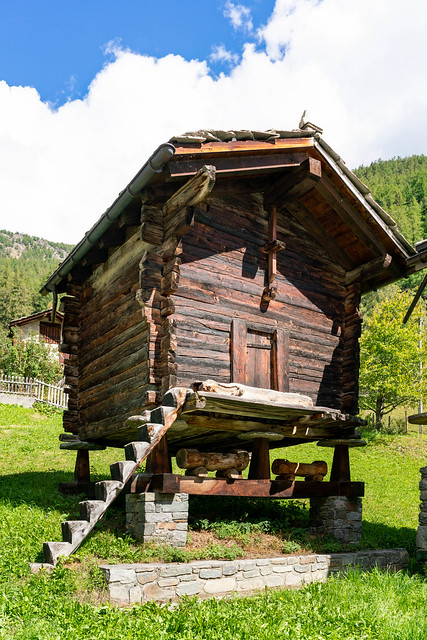 Authentic old Swiss shed on pillars with wood carved steps leading to it
