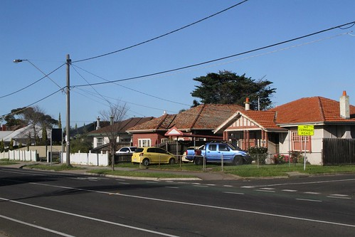 Heritage listed concrete houses at 51 - 57 Hampshire Road, Sunshine