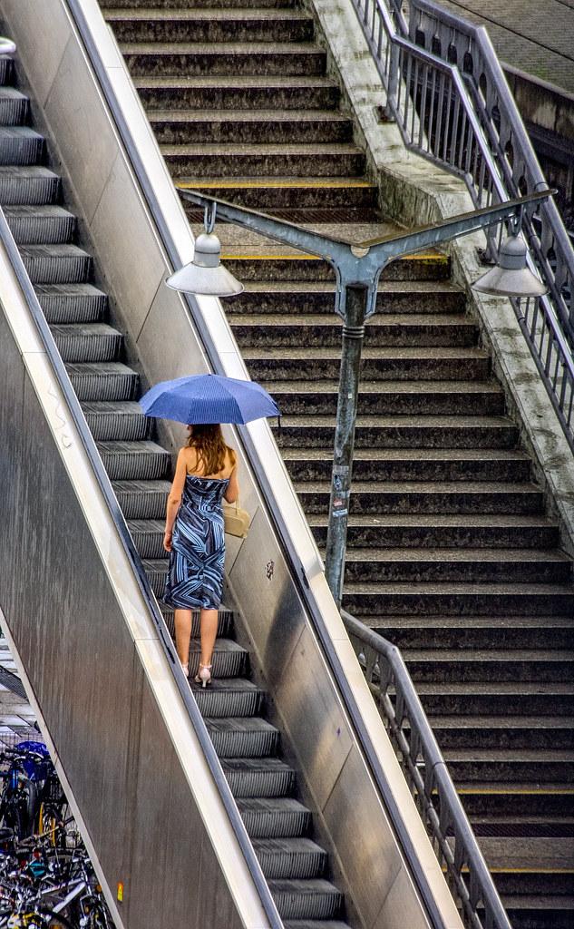 I was walking under my umbrella
